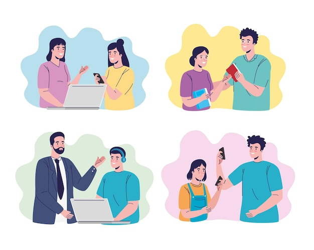 Grupa siedmiu uczniów i postaci nauczycieli projektowania ilustracji edukacji online