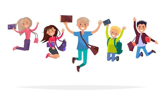 Grupa skaczących studentów z książkami, dużymi plecakami i stylowymi krótkimi torbami izolowanymi