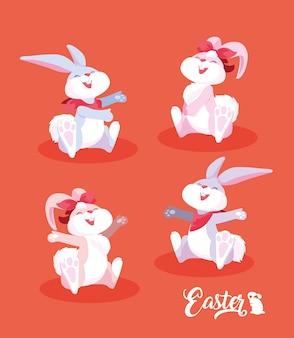 Grupa śliczni króliki easter