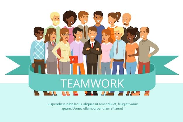 Grupa społeczna w pracy. biuro ludzi w ubranie. duża korporacyjna rodzina. postacie praca zespołowa ludzi grupy, biznes ilustracja współpracy firmy pracy zespołowej