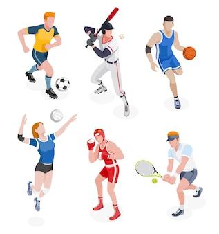 Grupa sportowców na białym tle