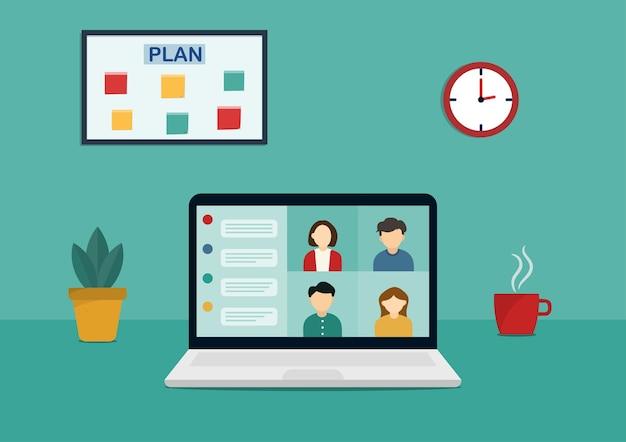 Grupa spotkań online za pośrednictwem zdalnej wideokonferencji i projektowania ilustracji w domu.