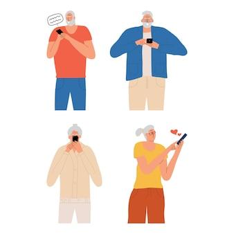 Grupa starszych osób komunikujących się przez telefon przez internet