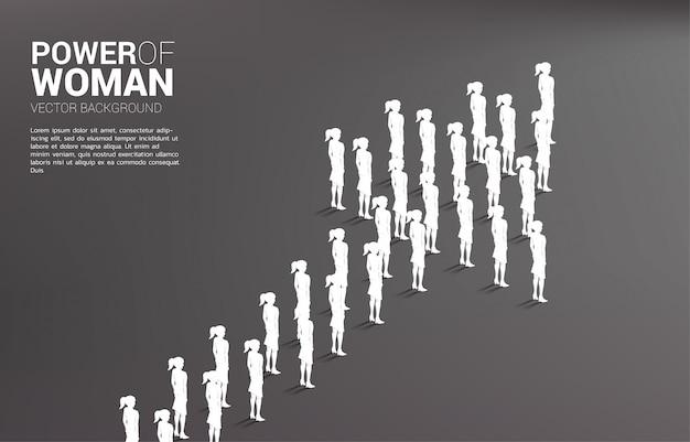 Grupa stoi wpólnie kształt strzała bizneswoman. misja firmy i praca zespołowa.