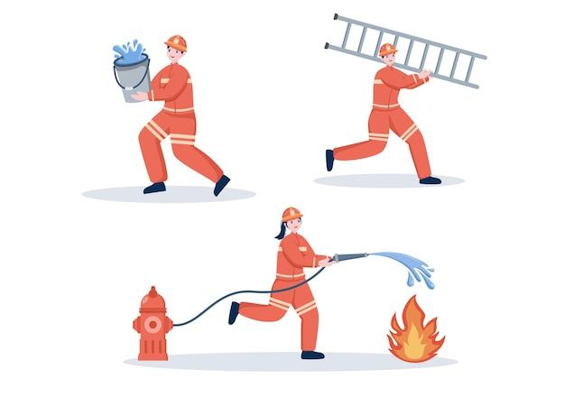 Grupa strażaków ilustracja