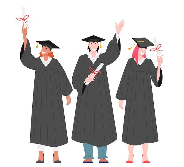Grupa studentów absolwentów posiadających płaską ilustrację dyplomów