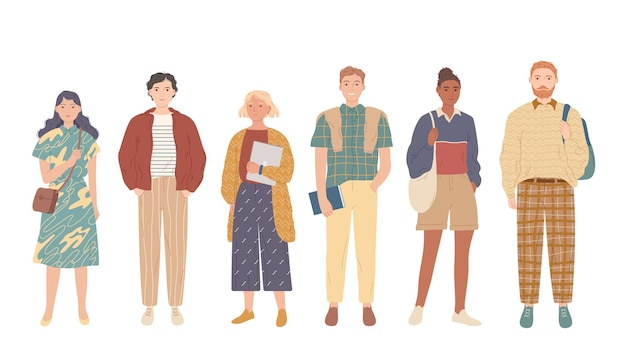 Grupa studentów. młodzi ludzie w ubranie.