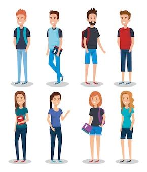 Grupa studentów z książki wektor ilustracja projektu