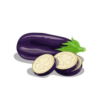 Grupa świeżych bakłażanów w stylu cartoon. świeże fioletowe całe warzywa i bakłażany okrągłe plastry. farma świeża. ilustracja na białym tle.