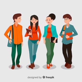Grupa szczęśliwi ucznie z płaskim projektem
