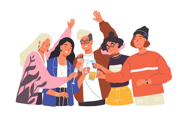Grupa szczęśliwych chłopców i dziewcząt stukających się kieliszkami i pijących alkohol na uroczystym przyjęciu