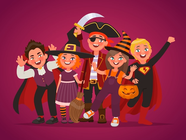 Grupa szczęśliwych dzieci przebranych za kostiumy na halloween. cukierek albo psikus. element projektu plakatu. ilustracja wektorowa w stylu cartoon