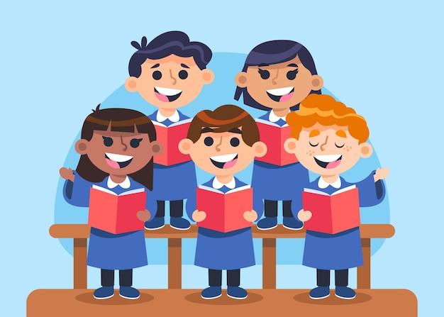 Grupa szczęśliwych dzieci śpiewających w chórze