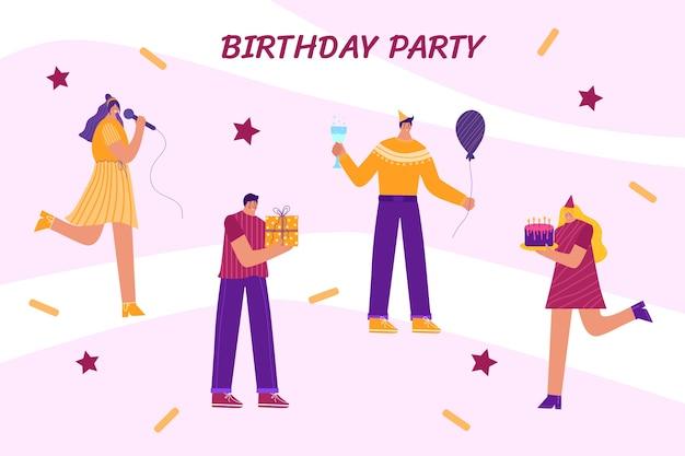 Grupa szczęśliwych ludzi obchodzi urodziny. kobieta śpiewa. kobieta daje ciasto. mężczyźni dają prezenty.