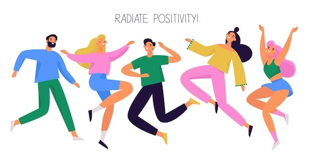 Grupa szczęśliwych ludzi skaczących i tańczących. radosne i pozytywne różnorodne postacie. kolorowa ilustracja.