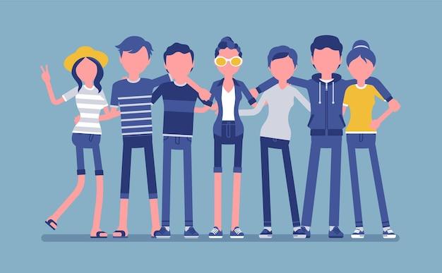 Grupa szczęśliwych nastoletnich przyjaciół