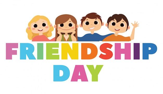 Grupa szczęśliwych przyjaciół korzystających z dnia przyjaźni. kreskówki ręka rysująca ilustracja dla twój projekta.
