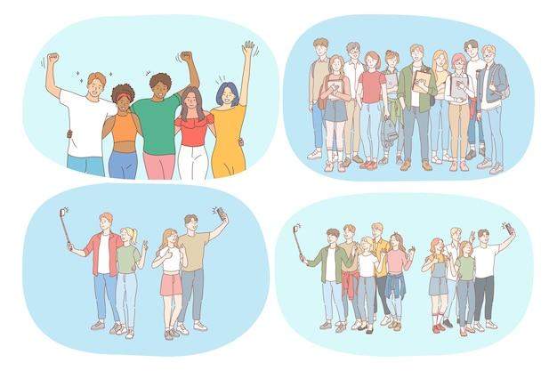 Grupa szczęśliwych uśmiechniętych ludzi przyjaciół nastolatków zabawy