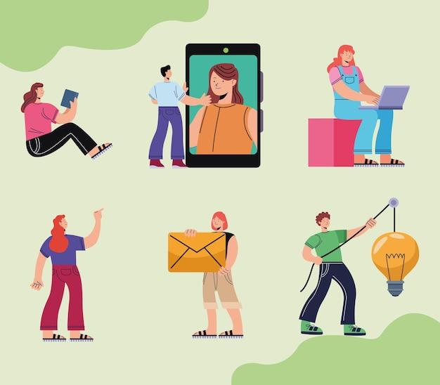 Grupa sześciu innowacyjnych osób