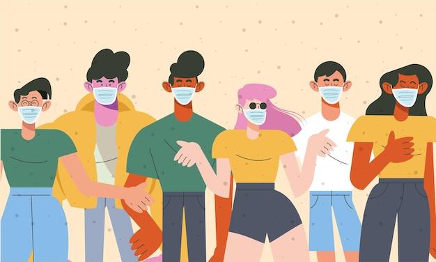Grupa sześciu młodych ludzi noszących maski medyczne ilustracji