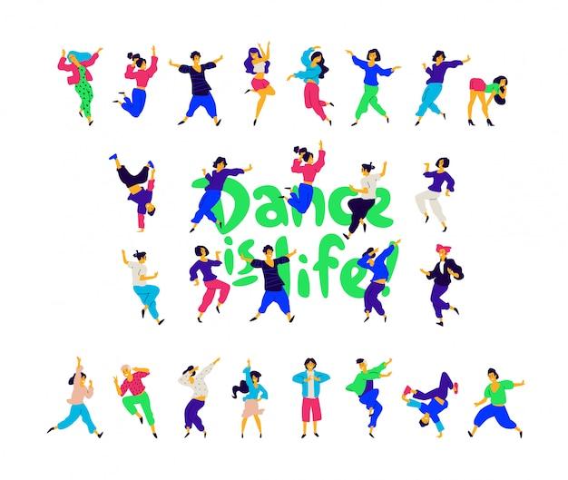 Grupa tańczących ludzi wokół napisu taniec to życie.