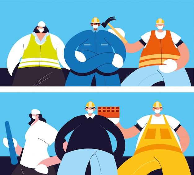 Grupa techników i inżynierów z maską na twarz