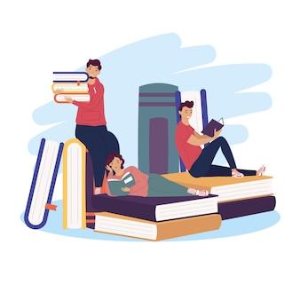 Grupa trzech czytelników z książkami, projekt ilustracji obchodów dnia książki