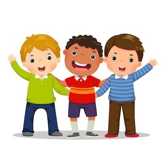 Grupa trzech szczęśliwych chłopców stojących razem. pojęcie przyjaźni