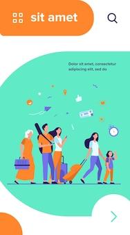 Grupa turystów stojących na lotnisku z walizkami i torbami. rodziny, starsze pary podróżujące z bagażem