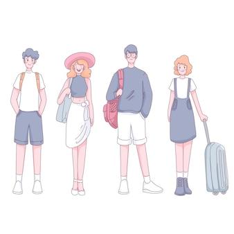 Grupa turystów z bagażem i plecakiem stojącym w postaci z kreskówki