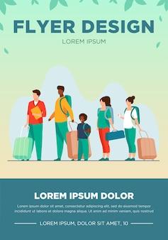 Grupa turystów z bagażem w kolejce. mężczyźni, kobiety, dziecko, trzymając torby i walizki ilustracja wektorowa na wycieczkę, lotnisko, podróż, koncepcja kolejki