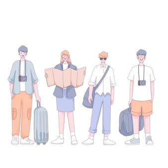 Grupa turystów z walizką i plecakiem stojącym w postaci z kreskówki