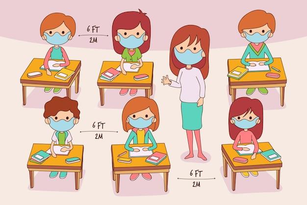 Grupa uczniów i nauczyciela w maskach medycznych w klasie