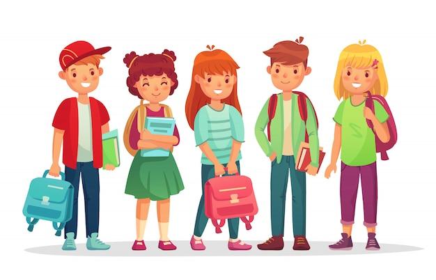 Grupa uczniów. postaci z kreskówek chłopców i dziewcząt w szkole