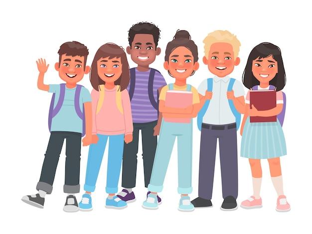 Grupa uczniów szkół podstawowych chłopcy i dziewczęta różnych narodowości książki i plecaki
