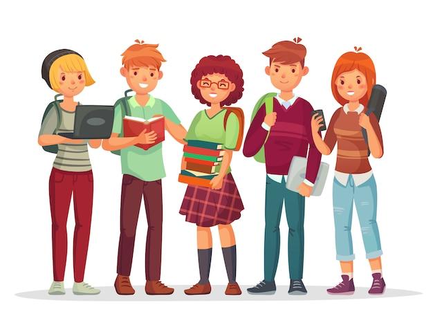 Grupa uczniów szkół średnich. nastolatki z postaciami z kreskówek w plecaku szkolnym