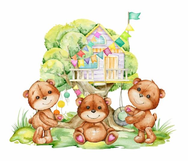 Grupa uroczych niedźwiedzi brunatnych z domkiem na drzewie. zwierzęta leśne akwarelowe w stylu kreskówki
