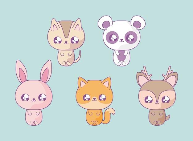 Grupa uroczych zwierzątek dla dzieci kawaii stylu