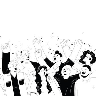 Grupa wesołych ludzi radosni fani piłki nożnej lub sportu kibice tłumy krzyczą i śmieją się