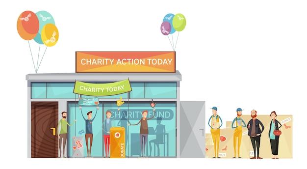 Grupa wolontariuszy zaprasza na spotkanie charytatywne płaski ilustracja