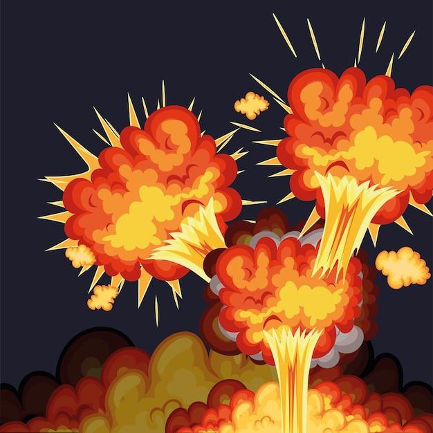Grupa wybuchów z ognistymi chmurami koloru pomarańczowego i żółtego.