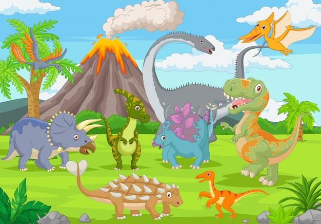 Grupa zabawnych dinozaurów w dżungli