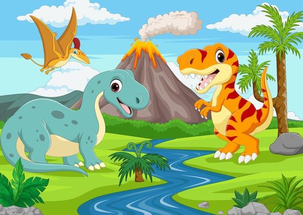Grupa zabawnych dinozaurów z kreskówek w dżungli