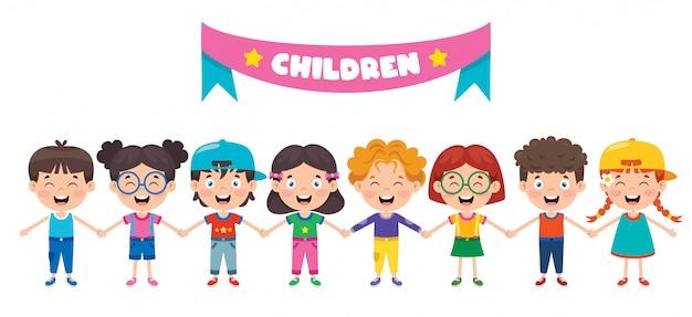 Grupa zabawnych dzieci bawiące się