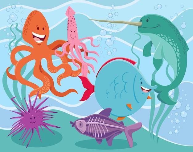 Grupa zabawnych kreskówek zwierząt morskich