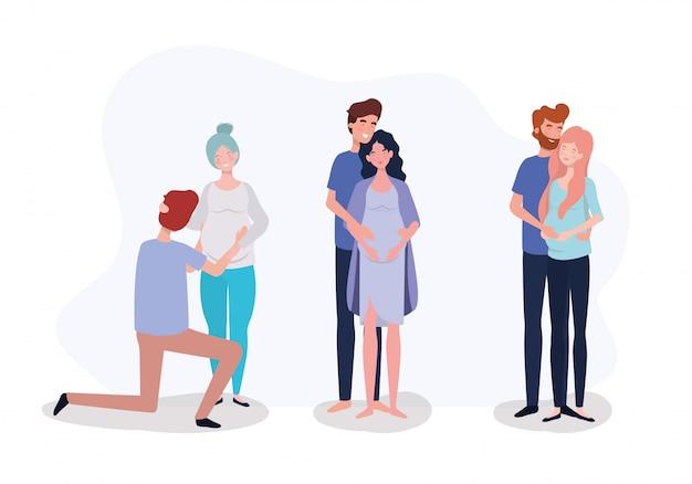 Grupa zakochanych par ciążowych postaci