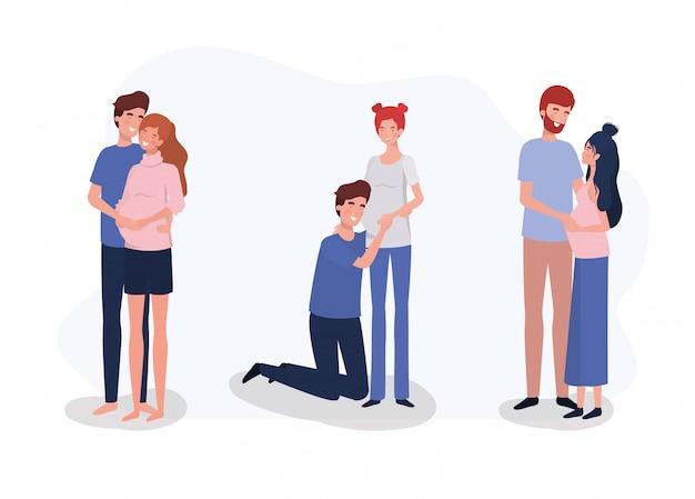Grupa Zakochanych Par Ciążowych Postaci Darmowych Wektorów