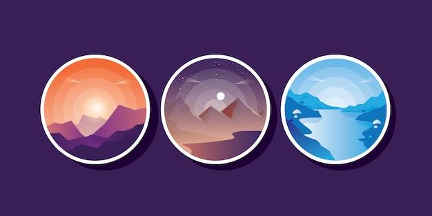 Grupa zestaw ilustracji pięknego granatowego fioletowego górskiego krajobrazu z mgłą i lasem. wschód i zachód słońca w górach.
