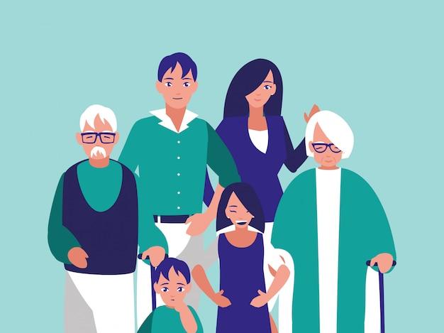 Grupa znaków członków rodziny