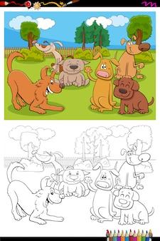 Grupa znaków kreskówek psów strona kolorowanki książki